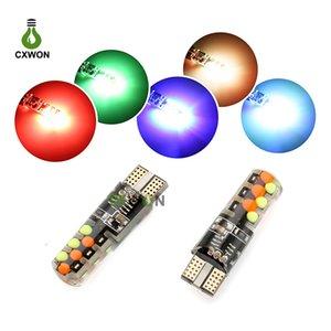 Светодиодные огни автомобиля светодиодные T10 W5W 2PCS RGB автомобиля Внутреннее освещение Красочные COB 12SMD автомобилей лампочки Marker Light с пультом дистанционного управления