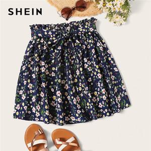 Shein Boho Armada Ditsy Imprimir Paperbag cintura con cinturón acampanado faldas para mujer ocasional del verano Frilled plisada mini falda LJ200820