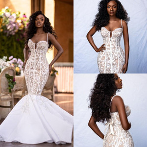 2021 Spaghetti Straps Mermaid Wedding Dresses Plus Size Lace Floral Appliqued Boho Wedding Gowns Custom Made Illusion robes de mariée