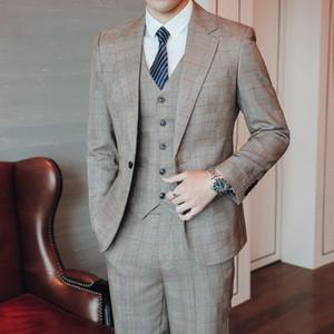 Autumn Winter Fashion Men Plaid Suit Size XXXL 4XL 5XL Mens Suit Jacket + Pants + Vest High Quality Slim Fit Men Wedding Suits