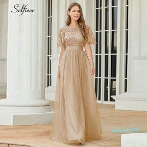 La venta del nuevo vestido de otoño decoración elegante una línea O Cuello de la llamarada de la manga larga con lentejuelas del partido vestidos formales para las mujeres más el tamaño de Otoño 2020