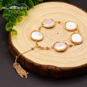 kG74T подарок естественный браслет барокко круглый жемчуг обмоткой кисточка женских украшений GLSEEVO GLSEEVO естественный handmadeBracelet ручной работы в стиле барокко wbGRi