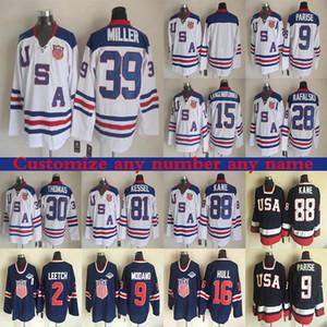 Squadre USA CCM Vintage Versione Jersey Kane 39 Miller 81 Kessel 9 Parise 16 Hull 9 Modano 30 Thomas Miller Thrownback Retro hockey maglie