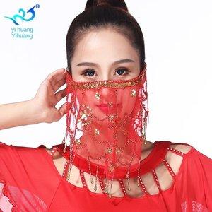Q0vrG cRUP3 lentejuelas máscara borla del vientre velo velos indios de la danza de baile mascarilla de gasa toalla