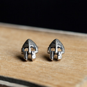 Shipping 925 Unisex Silver Spartan Mask Battle Stud VamGoth1573 Earrings Damage Free Jewelry Sterling Mens For Womens Dgwhg