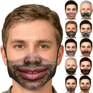 3D divertido de la cara humana de la máscara de expresión impresión de la manera máscaras a prueba de polvo de algodón ajustable reutilizable lavable Máscara DDA344