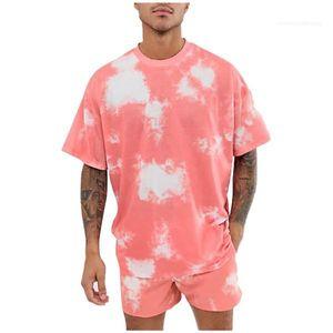 Hiphop Sokak ayarlar 2pc Stil Erkek Giyim Kravat Boyalı Erkekler Tasarımcı eşofman Yaz Kısa Kollu O Boyun Gevşek