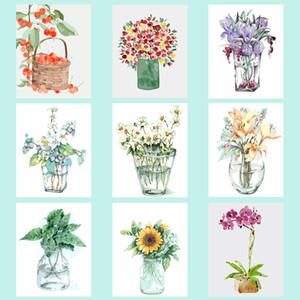 페인트로 번호 키트 홈 거실 장식 회화 숫자 공장 꽃병 그림 캔버스 오일에 의해 회화 YIJIE DIY