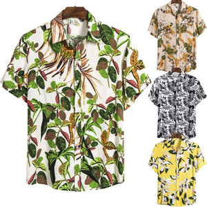Hawaiian Shirts Summer Short Sleeve Shirt Cotton Tees for Men Beach Casual Tops Breathable Floral Outwear Plus Size Holiday Shirt