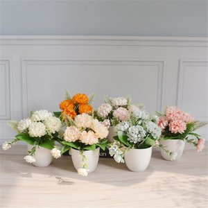 5 Artificial Flowers Pineapple Chrysanthemum Plastic Potted Simulation Plant Party Wedding Home Artificial Flower Decoration