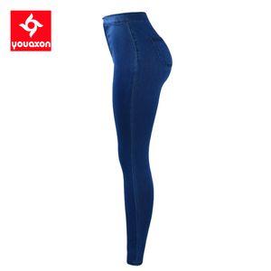 1894 Youaxon Plus Size High Waist Stretchy Jeans Women`s Brand New Blue Skinny Denim Pants Jeans For Women Jean Femme Trousers CX200815