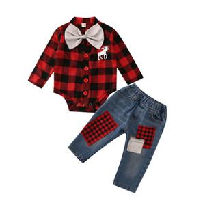 Focusnorm 0-24M Noel Yenidoğan Bebek Boy Giyim Seti Geyik Romper Denim Jeans Pantolon Kıyafetler Giyim Y200803 Tops