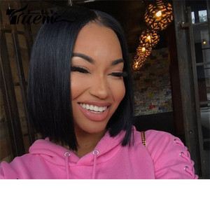 Brazilian Straight Remy Hair I Part Lace Human Hair Lace Wig Black Women Layered Short Bob Lace Front Wig For Sale
