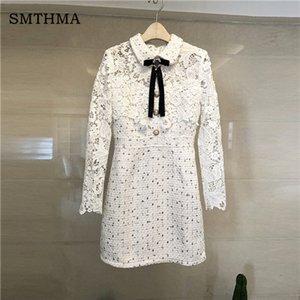 Женщины Платья Высокое качество белый твид платье женщины Кружева Лоскутная Bow Алмазные Бальные платья Женский Vestidos