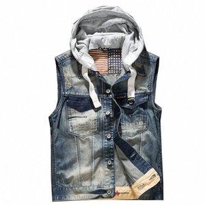 'homens com capuz Denim Vest Male Plus Size Casual Jeans Vest 2018 Nova Alta Qualidade Retro mangas Denim Jacke HP5j #