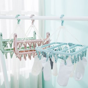 32 Clips Drying Rack Sock Holder Portable Windproof Towel Folding Cloth Hanger Rack Clothespin Wardrobe Storage Cloth Hangers T200605
