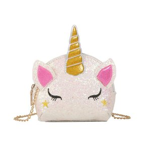 5 Styles Unicorn Chain Shoulder Bags Bling Sequins Cartoon Crossbody Bag Kids Messenger Bag Coin Bag Party Favor Gift