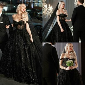 2020 Fashion Evening Dresses Off Shoulder Lace Appliques Sequins Bling Bling Prom Gowns Custom Made Sweep Train Special Occasion Dress