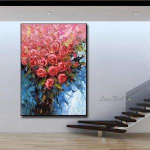 Couteau épais Fleur Peinture Peinture à l'huile peinte à la main mur toile couteau Photos fleurs Art pour le salon Maison Décoration Murale