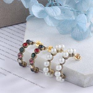 gGkbJ ago d'argento 925 barocco diamante colorato a forma di C-orecchini di diamanti perla fredda delle donne eleganti della perla del vento corti capelli tutto-fiammifero orecchini