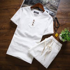 # 3403 Iki Parçalı Set T Gömlek Ve Şort Erkekler Yaz Casual Giysileri Artı Boyutu 4XL 5XL Çin Tarzı Erkek Setleri Üç Düğmeler