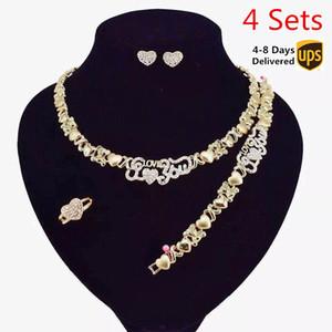 4 комплектов / коробка африканских комплектов ювелирных изделий для женщин ожерелья серьги 14K золотых ювелирных изделий Наборов для женщин оптового ювелирных изделий ожерелья jewlrey