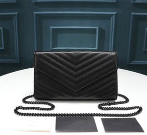 Venta caliente de la nueva manera de las mujeres del diseñador de lujo del bolso de alta calidad suave cuero genuino solapa cruzada cuerpo bolsa de asas de vaca bolso negro