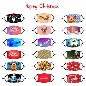 Adulte Masque du Père Noël de Noël Bouche couverture Cerfs Impression numérique Masque réglable Xmas Printted masque avec filtre LSK1045