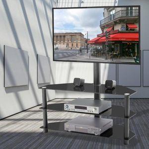 US STOCK TV Noir multi-fonctions Support à hauteur réglable Support pivotant à 3 niveaux Accueil Meubles Salon W24105047
