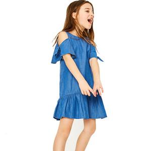 Отличное оформление Newst детского платья Мода Kid Девочка Девушка Denim с плечом платья рукава партии мини-платья Z0208