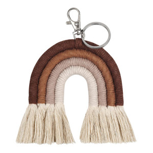 Ключевые слова на русском: Weaving Rainbow Keychains для женщин Tassel Macrame Keyrings Key Holder Jewelder A69F