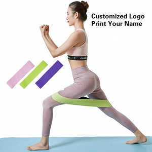 Elastic Hip Resistance Loop Bands Gymnast Excercise Workout Band Set Fitness Equipment for Home Gym Customized Logo Print Name 3Qrm#
