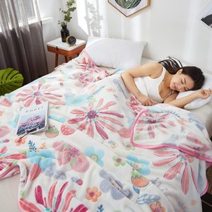 Cobertores 120x200 / 150x200 / 180x200 / 200x230cm Soft Macio Impresso Coral Fleece Cobertor Sofá Toalha de Bedspread Grande Cama Lance Adulto