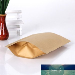 500pcs Zipper Brown Kraft aluminizing pouch,Stand up kraft paper aluminium foil bag Resealable Zip Lock