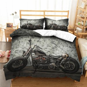 Cool Motor Bedding Sets Retro Black Gray Duvet Cover Set Boys Winter Home Quilt Cover Full Queen Single Double Size Bedspread