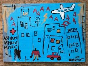 Jean Michel Basquiat pittura a olio art deco della parete della decorazione della casa dipinto a mano HD Stampa Olio su tela di arte della parete della tela di canapa Immagini 200816