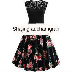8O0aw Spitze genäht schwarz gedruckt Pfingstrose Kleid Kleid ärmellos ungepflegt Fluffy flauschigen Rock Pengpeng Rock