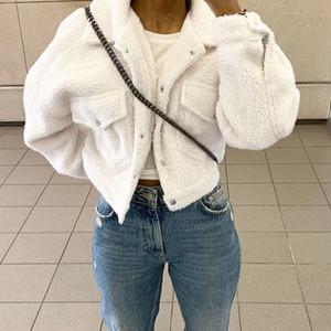 Fashion Lamb Wool Autumn Winter Coat Women Jacket Fleece Shaggy Warm Cropped Jackets Overcoat Single Breasted Outwear