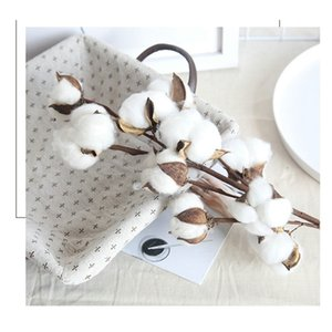 9 heads dried cotton stems natural artificial flower decorative Wedding home party living room long branch C0924