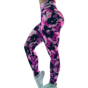 Puple Camouflage Print Yoga Sports Leggings Womens High Waist Exercise Trousers Lady Stretch Workout Running Fitness Pants #BL3