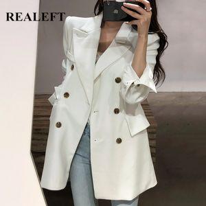 REALEFT New 2020 Automne Hiver élégantes solides Blazer double breasted femmes manches longues bureau officiel Veste Outwear Femme