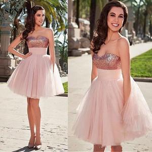 Prom Dress in oro rosa paillettes Sweetheart breve con Puffy Light Pink Tulle pannello esterno del partito abiti per le ragazze di ritorno a casa da cocktail Dresse