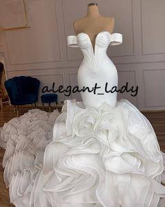 Cascading Ruffles Mermaid Wedding Dresses 2021 Real Image Off Shoulder Princess Castle Fishtail Bride Wedding Gown Robe De Soire