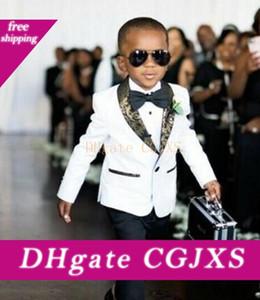 Personalizar White Boys Ropa formal esmoquin cuello esmoquin juego de los niños Trajes Niños vestidos de baile de cumpleaños (chaqueta y pantalones pajarita) D69