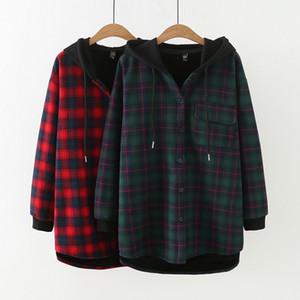 Le donne plus size pulsante Plaid Fino tasca del cappotto con cappuccio 2020 autunno inverno nuova giacca con cappuccio per le donne di colore rosso verde formato asiatico XL-4XL