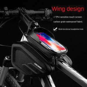 Raffreddare moto accessori per biciclette sacchetto fascio borsa tubo mountain bike sella anteriore superiore accessori impronte digitali impermeabile bicicletta sblocco CYCL vVGW2