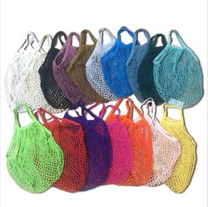 Mesh net Sac à cordes Sac réutilisable de grande taille Vegetable fruits de stockage sac pliable Cabas portable Knitting Sacs LJJP451