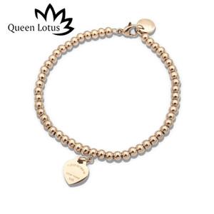 Queen Lotus 2019New Qualitäts-Marken-Korn-Herz-Anhänger Frauen Stahl Titan-Armband-Charme für Geschenk Großhandel mit Schriftzug