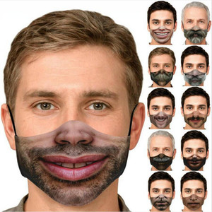 3D Funny Human Face Mask Fashion Printing Expression Dustproof Cotton Masks Adjustable Washable Reusable Mask DDA344