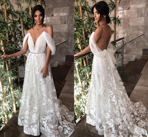 2021 Sexy Backless Wedding Dresses Embroidery Lace Applique Crystals A Line Off the Shoulder Sweep Train Wedding Gown vestido de novia